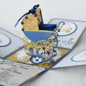 Sveikinimas dėžutė krištynoms – Mėlynas vežimėlis