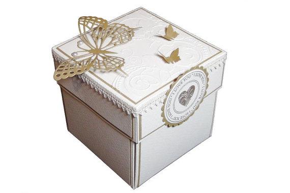 Gold Favor Boxes 4x4x4 : Wedding exploding box gold invitation birthday